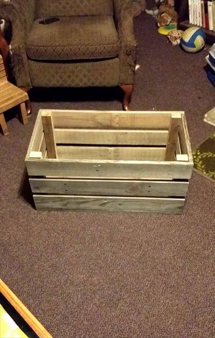DIY Pallet Toy Box  Easy & Simple Wood Pallet Toy Box Easy Pallet Ideas