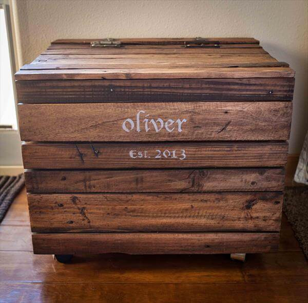 DIY Pallet Toy Box  DIY Pallet Wood Toy Box with Casters – 101 Pallets