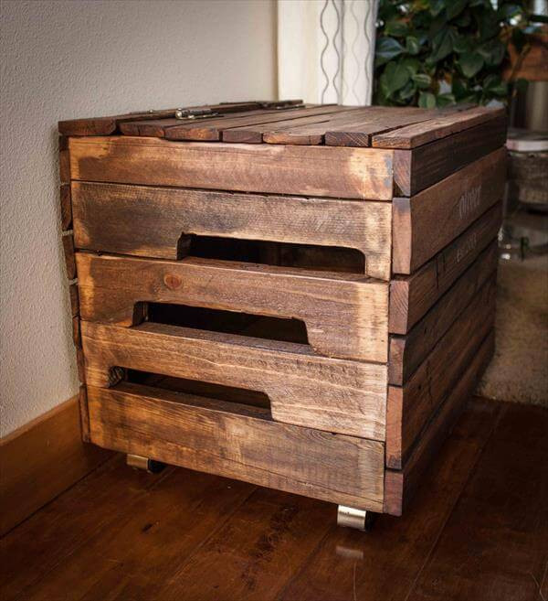 DIY Pallet Toy Box  DIY Pallet Wood Toy Box with Casters