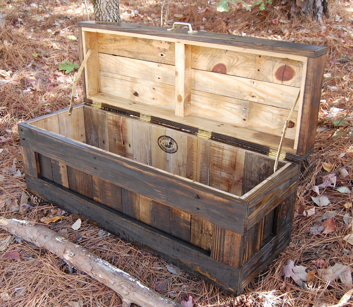 DIY Pallet Toy Box  Jacobean Hope Chest Toy Box Blanket Storage from