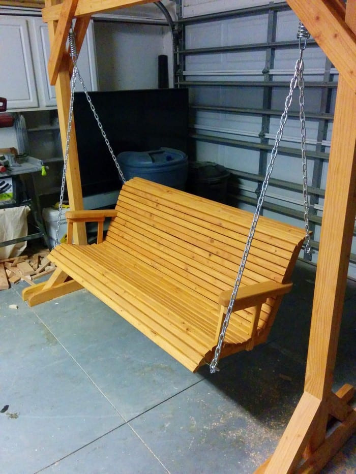 DIY Porch Swing Plans  Unwind in your yard with a DIY wood porch swing with cup