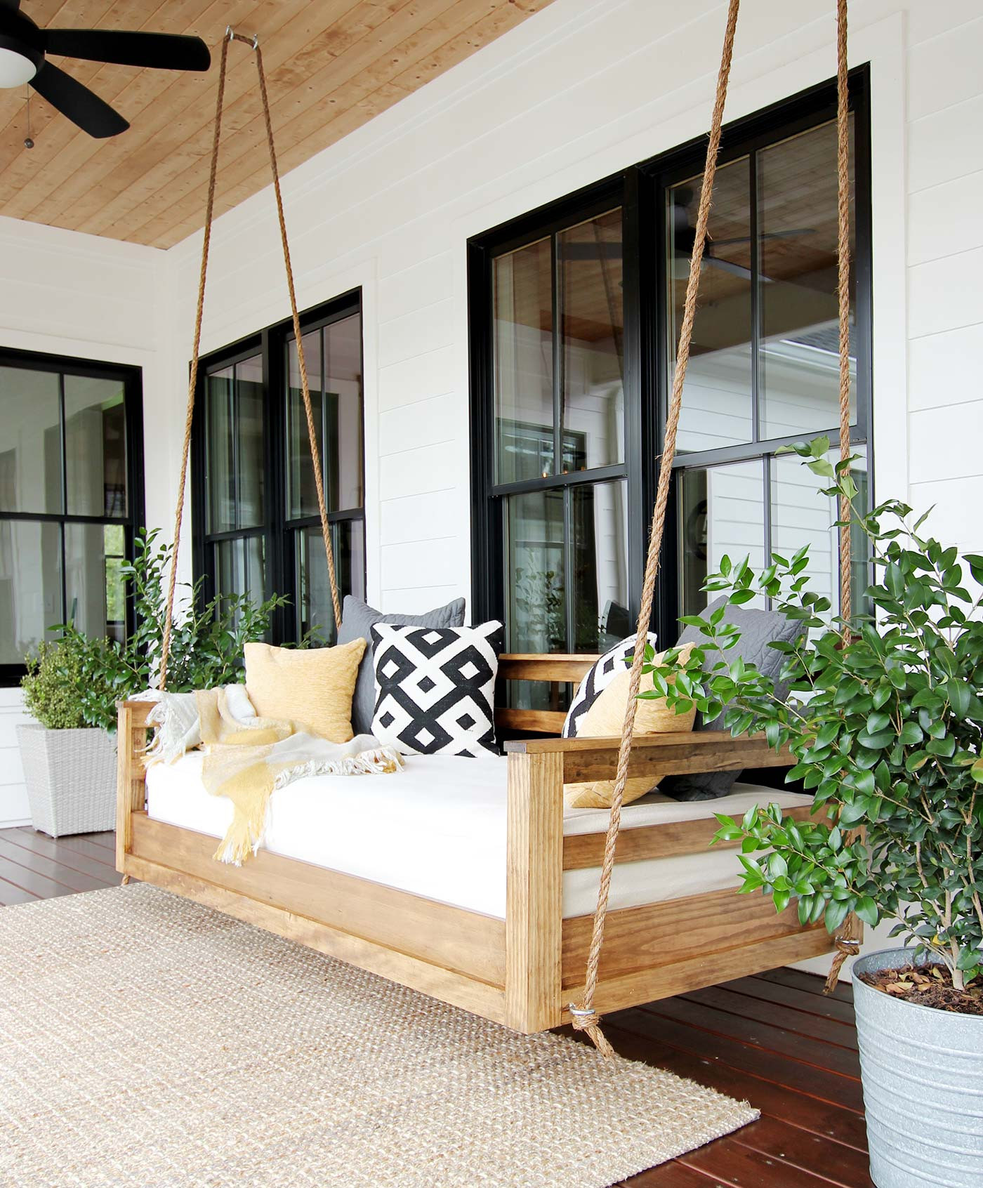 DIY Porch Swing Plans  How to Build a Porch Swing Bed Plank and Pillow