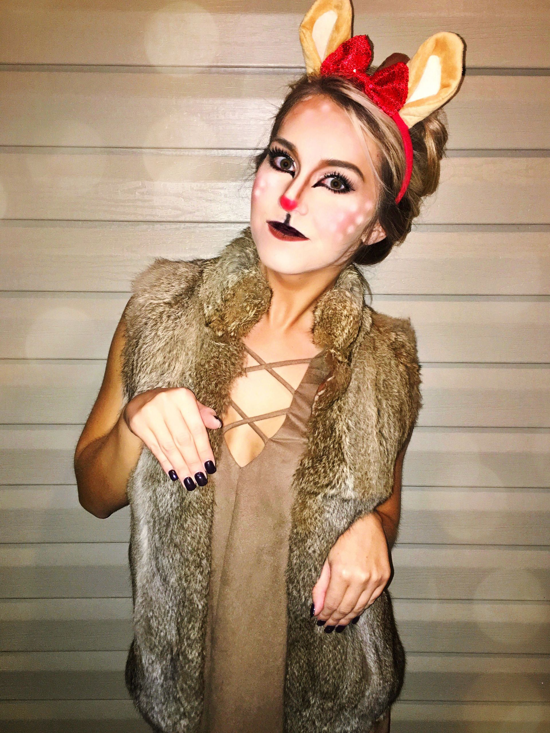 DIY Reindeer Costumes  reindeer costume christmas holiday costume deer makeup
