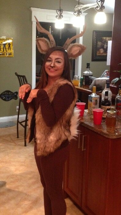 DIY Reindeer Costumes  Homemade deer costume Ears and tail are made from real