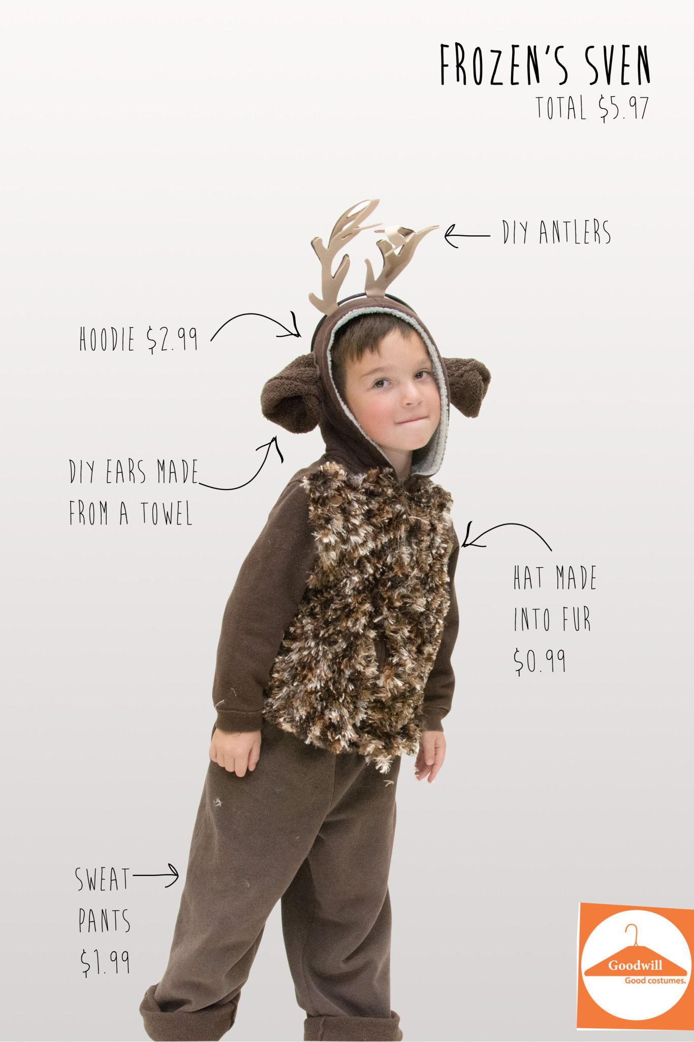 DIY Reindeer Costumes  DIY Sven from Frozen from Goodwill items