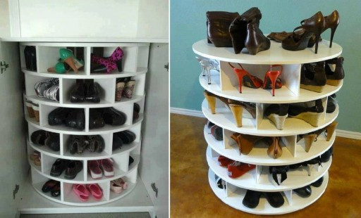 DIY Rotating Shoe Rack  DIY Lazy Suzan Turntable Shoe Rack Storage