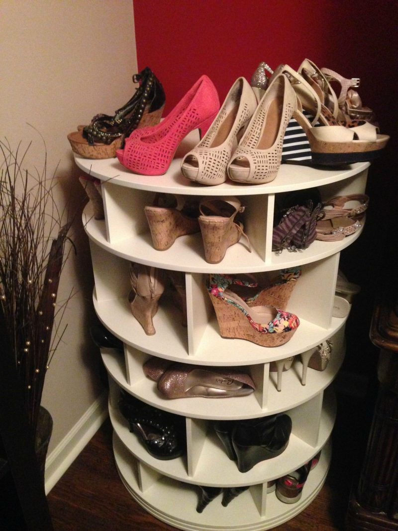 DIY Rotating Shoe Rack  20 Attractive & Functional Woodworking Projects With Step