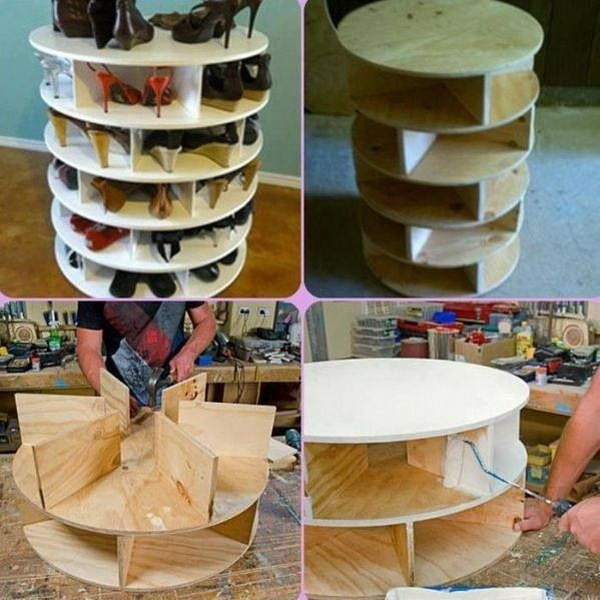 DIY Rotating Shoe Rack  30 Creative Shoe Storage Ideas 2017