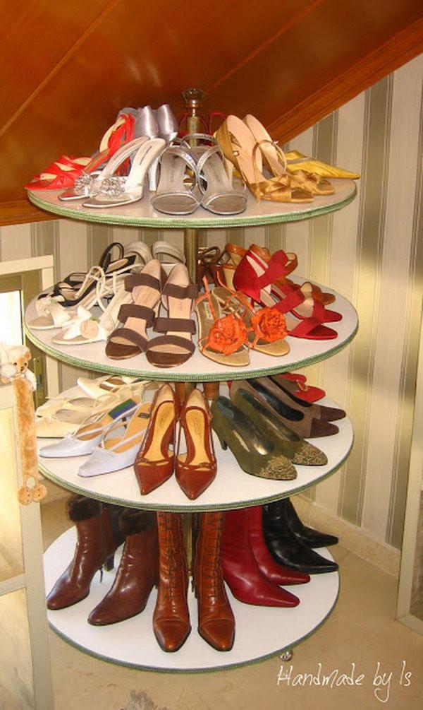 DIY Rotating Shoe Rack  15 Creative Shoes Storage Ideas Hative