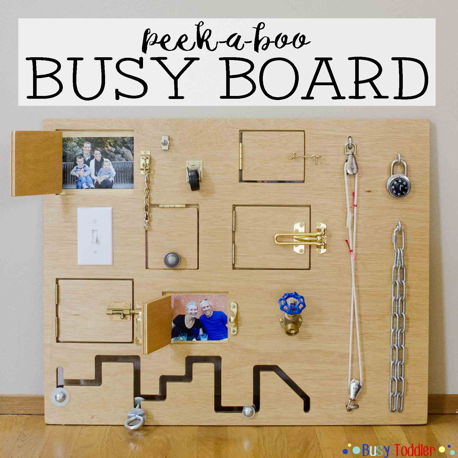 DIY Toddler Busy Board  Toddler Busy Board Peek a Boo Edition Busy Toddler