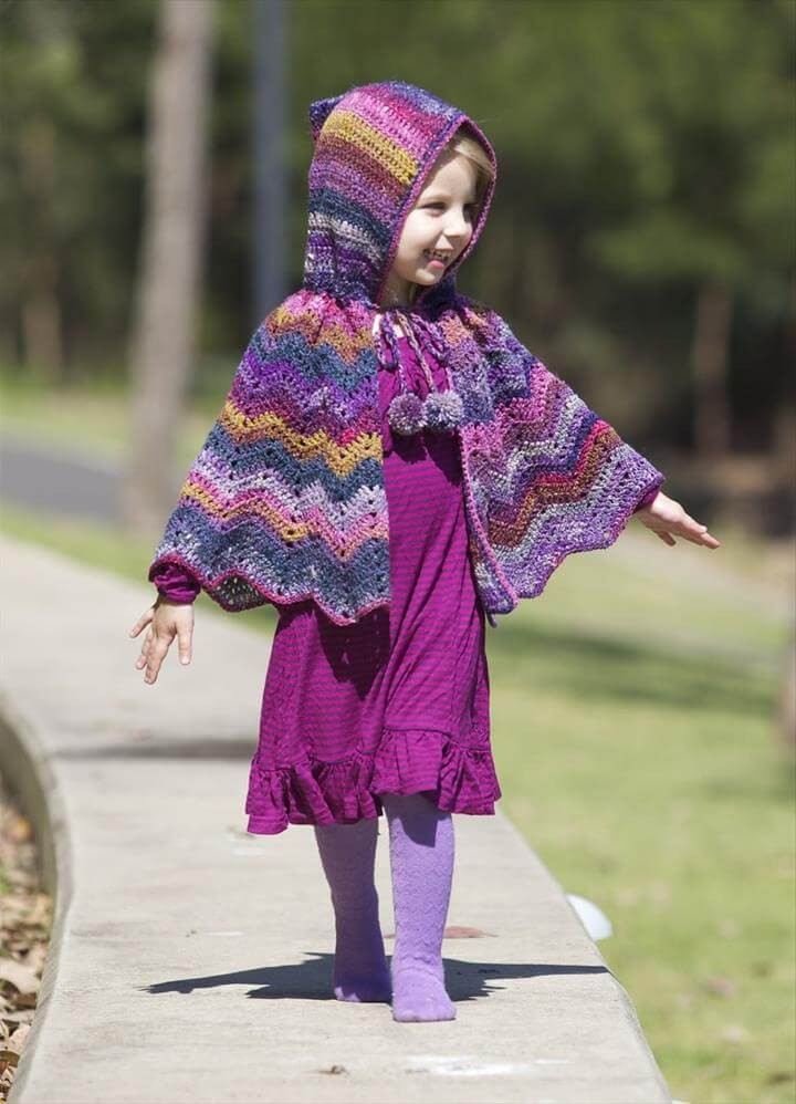 DIY Toddler Cape Pattern  16 DIY Ideas About Crochet Hooded Cap & Shawl
