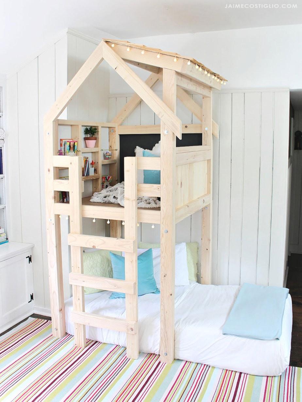 DIY Toddler House Bed  DIY Over Bed Kids Loft Jaime Costiglio