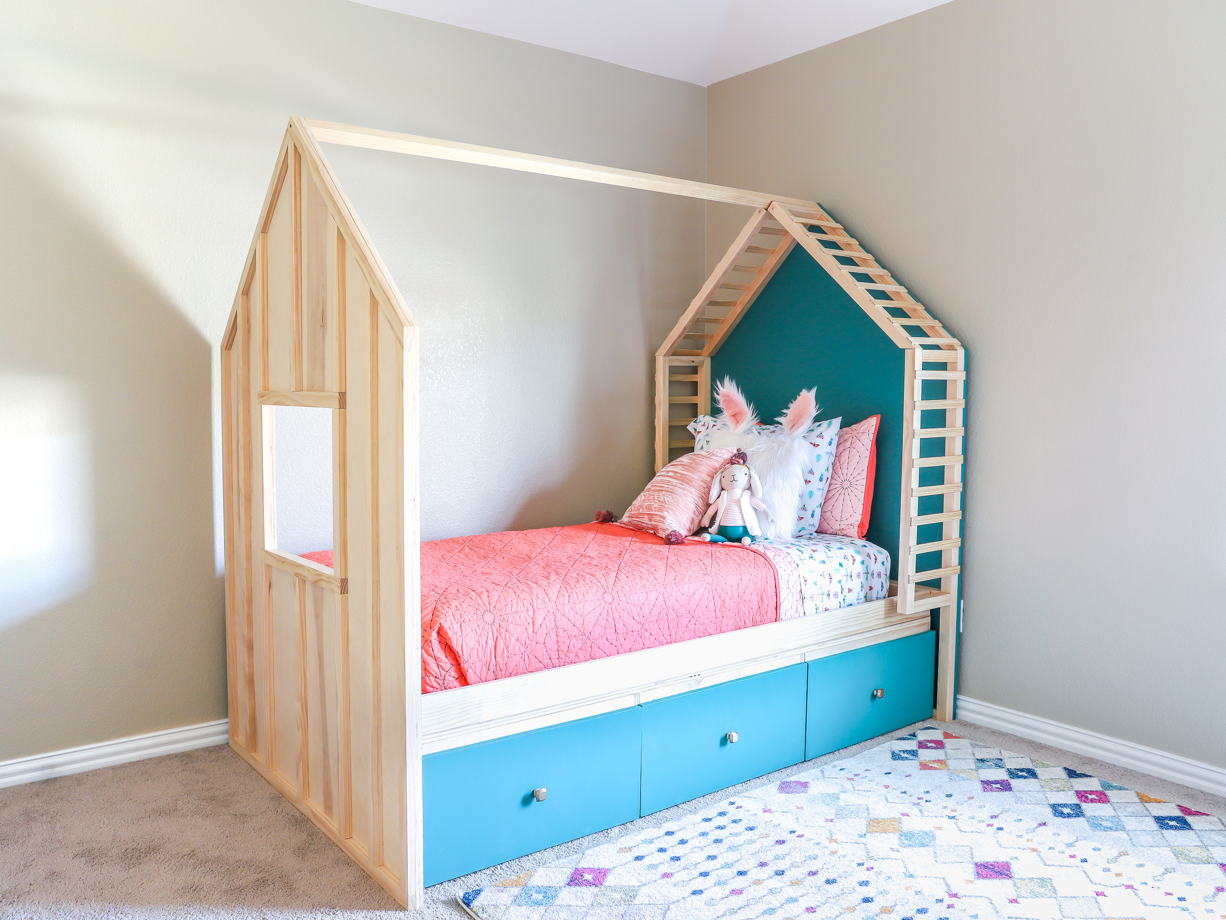 DIY Toddler House Bed  How to build a DIY kids house bed with storage build