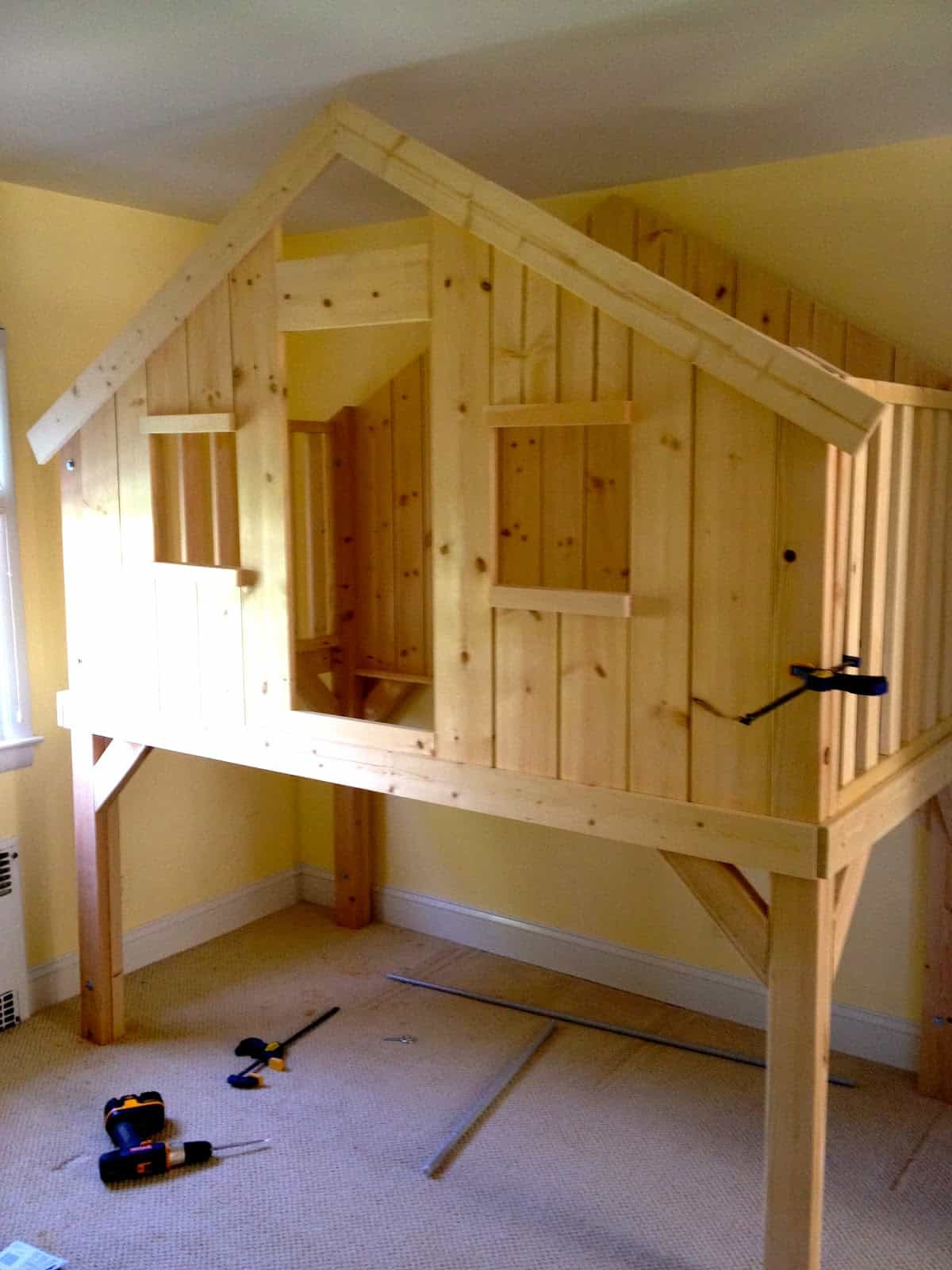 DIY Toddler House Bed  Clubhouse Loft Bed For Kids
