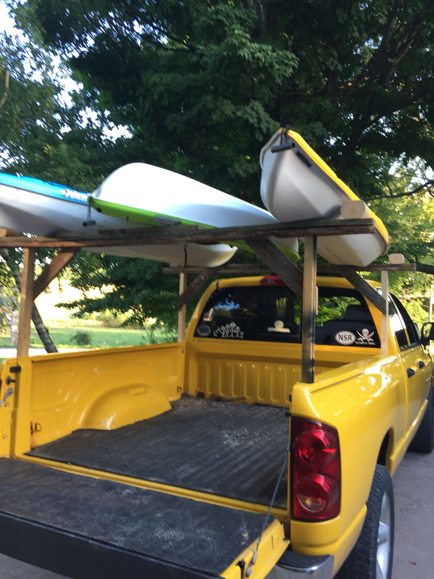 DIY Truck Canoe Rack  Diy kayak rack on the cheap Spent $1 84 on hardware so