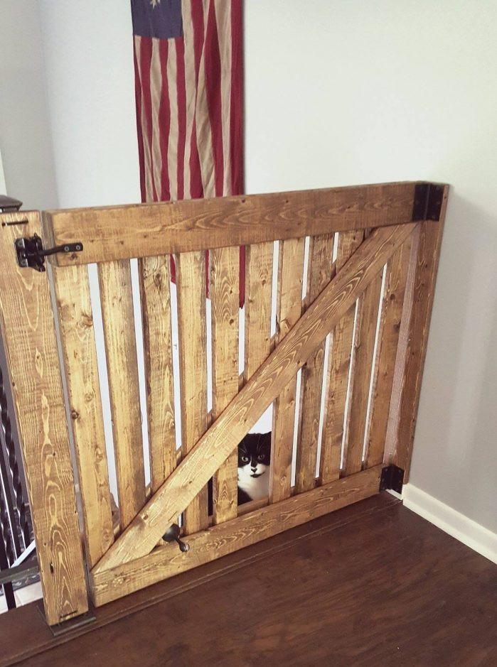 DIY Wood Baby Gate  DIY Barn Door Baby Gate with Pet Door Instructions
