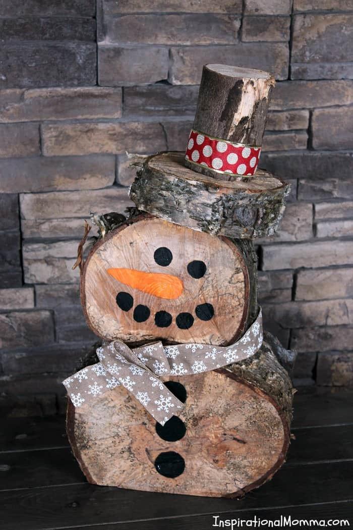 DIY Wooden Snowman  DIY Log Snowman