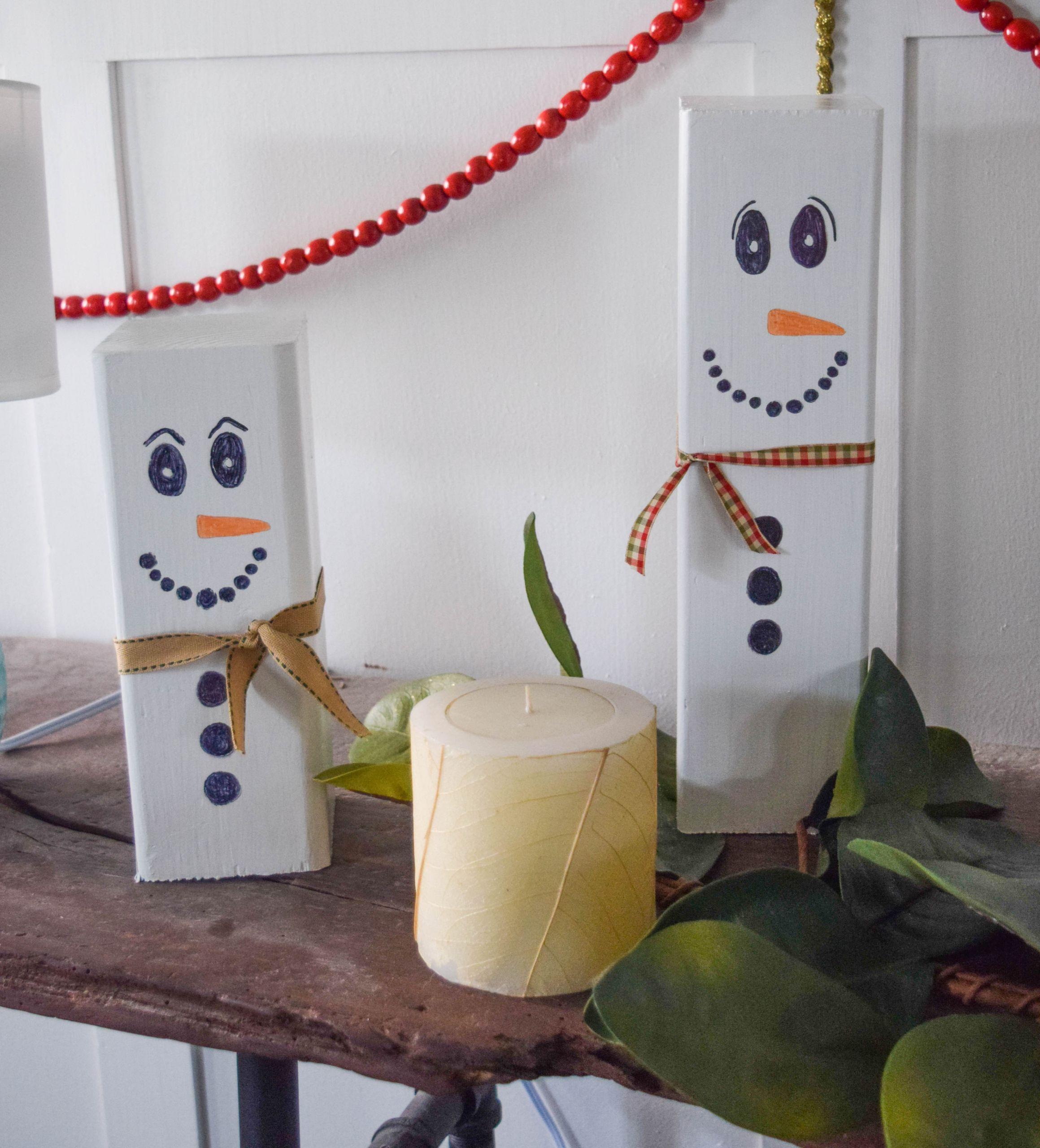 DIY Wooden Snowman  Wooden snowman craft easy Christmas decoration idea • Our