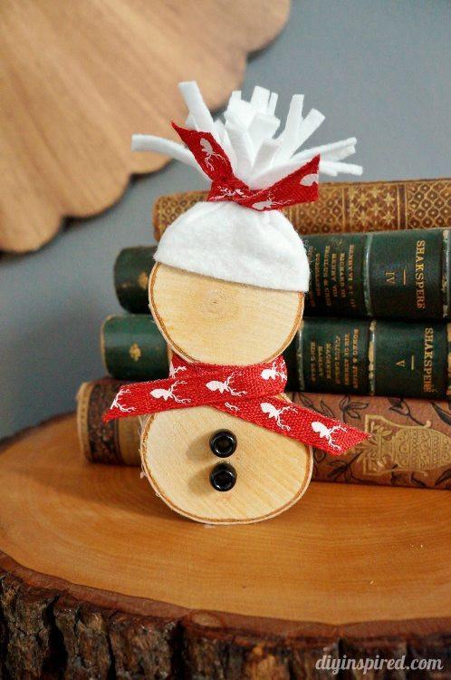 DIY Wooden Snowman  DIY Wood Slice Snowman DIY Inspired