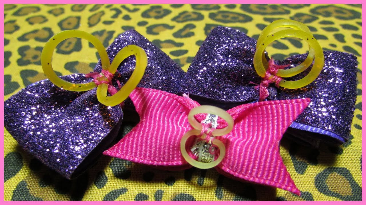 Dog Hair Bows DIY  DIY How to attach grooming bands to dog bows with
