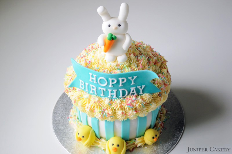 Easter Birthday Cakes  Hoppy Birthday Giant Cupcake Juniper Cakery