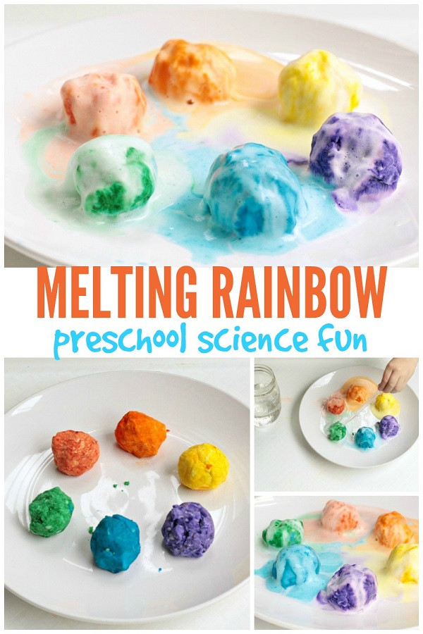 Easy Projects For Preschoolers  Melting Rainbow Preschool Science Experiment