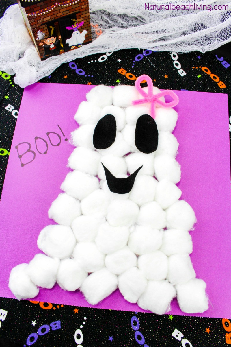 Easy Projects For Preschoolers  Easy Cotton Ball Ghost Craft for Preschoolers Natural