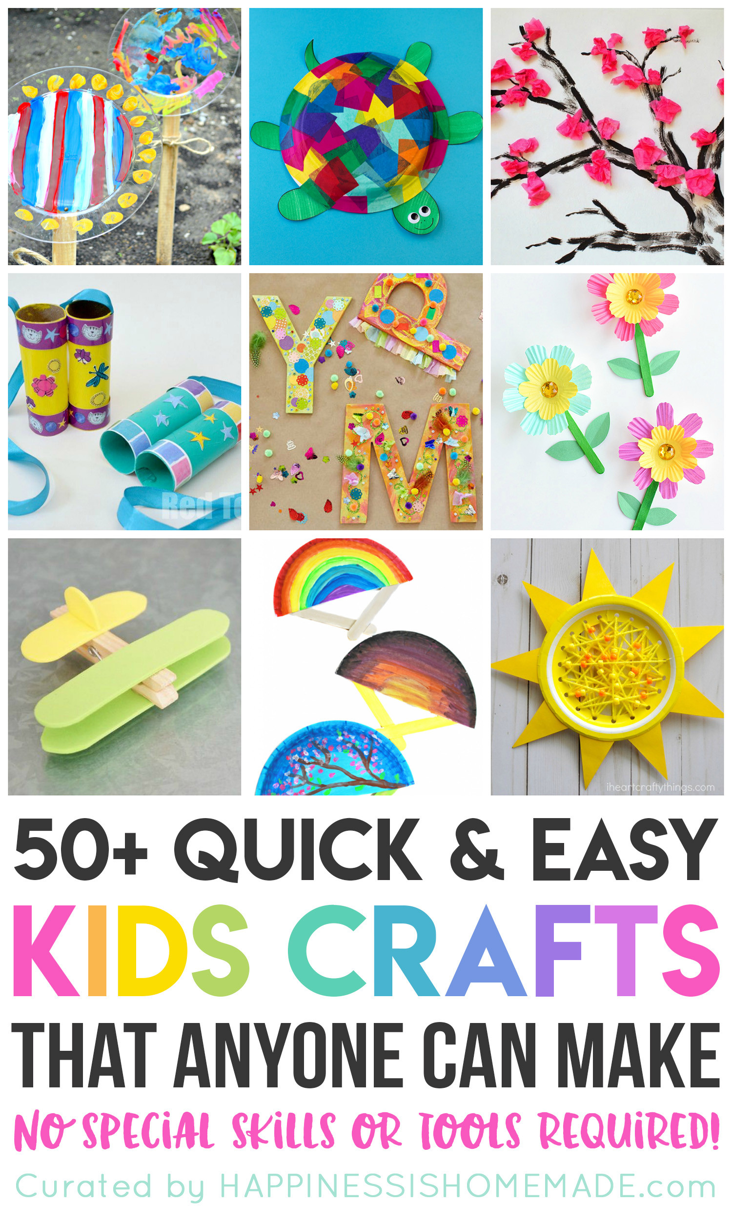 Easy Projects For Preschoolers  50 Quick & Easy Kids Crafts that ANYONE Can Make