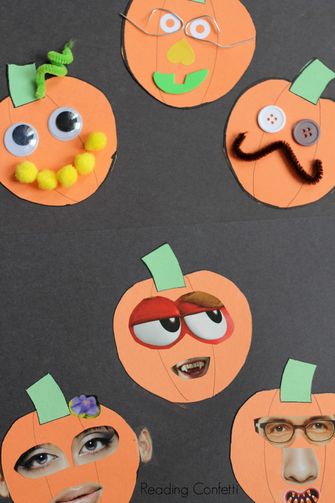 Easy Projects For Preschoolers  Jack o Lantern Collages Preschool Craft Reading Confetti