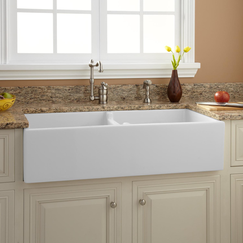 "Farmhouse Bathroom Sink  39"" Risinger Double Bowl Fireclay Farmhouse Sink White"