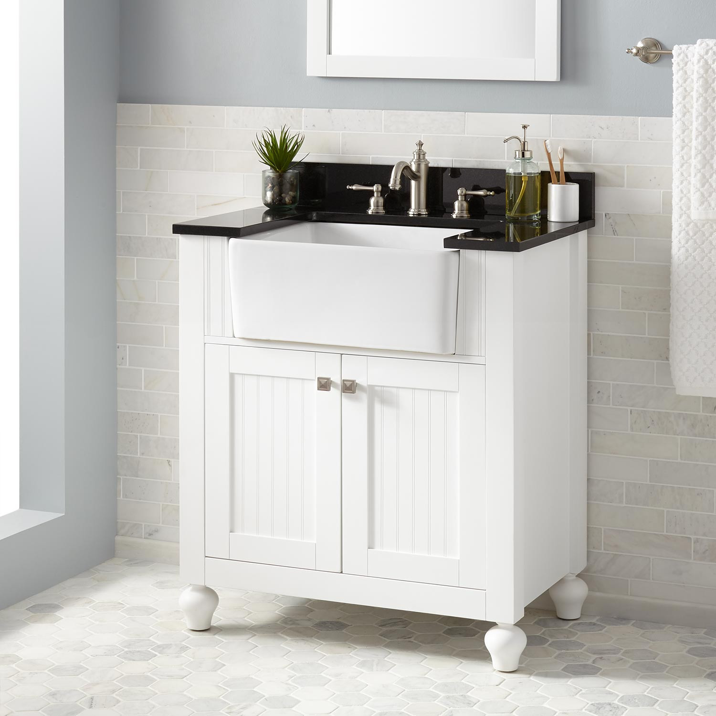"Farmhouse Bathroom Sink  30"" Nellie Farmhouse Sink Vanity White Bathroom"