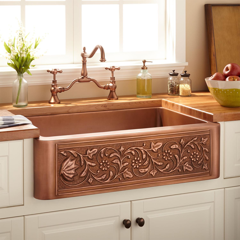 "Farmhouse Bathroom Sink  33"" Vine Design Copper Farmhouse Sink Kitchen"