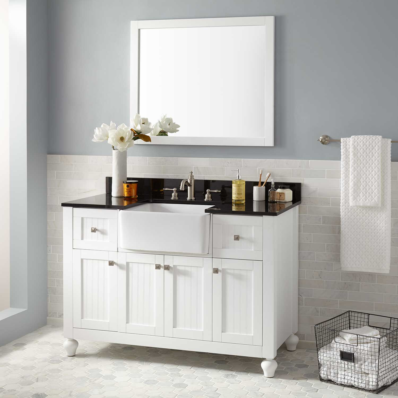 "Farmhouse Bathroom Sink  48"" Nellie Farmhouse Sink Vanity White Bathroom"