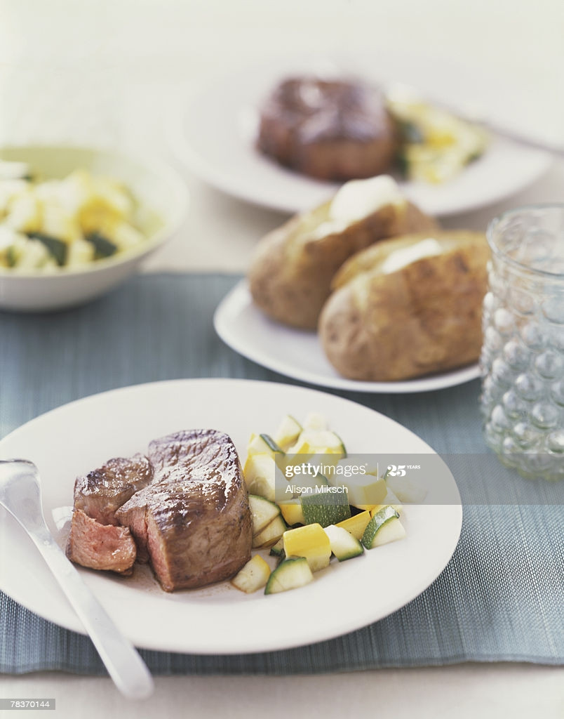 Filet Mignon Side Dishes  Filet Mignon With Squash And Assorted Side Dishes Stock