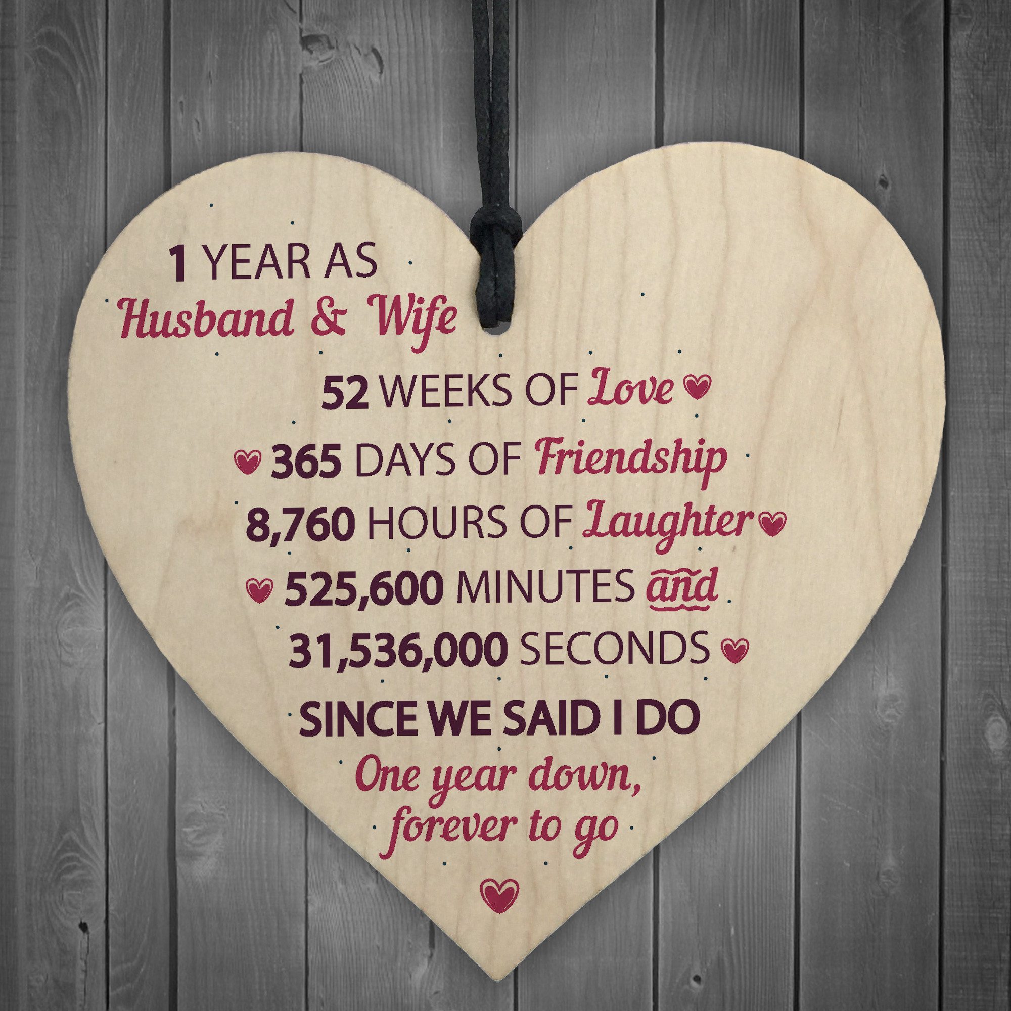 First Anniversary Gift Ideas For Her  1st Wedding Anniversary Gift Wooden Heart First Wedding