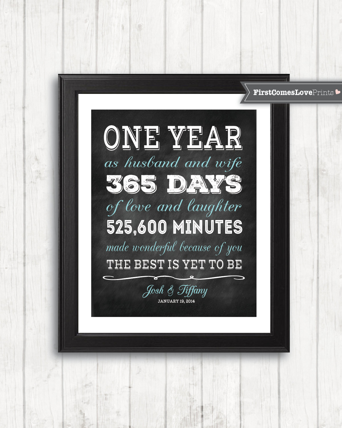 First Anniversary Gift Ideas For Her  Chalkboard Style First Anniversary Gift for Husband for Wife