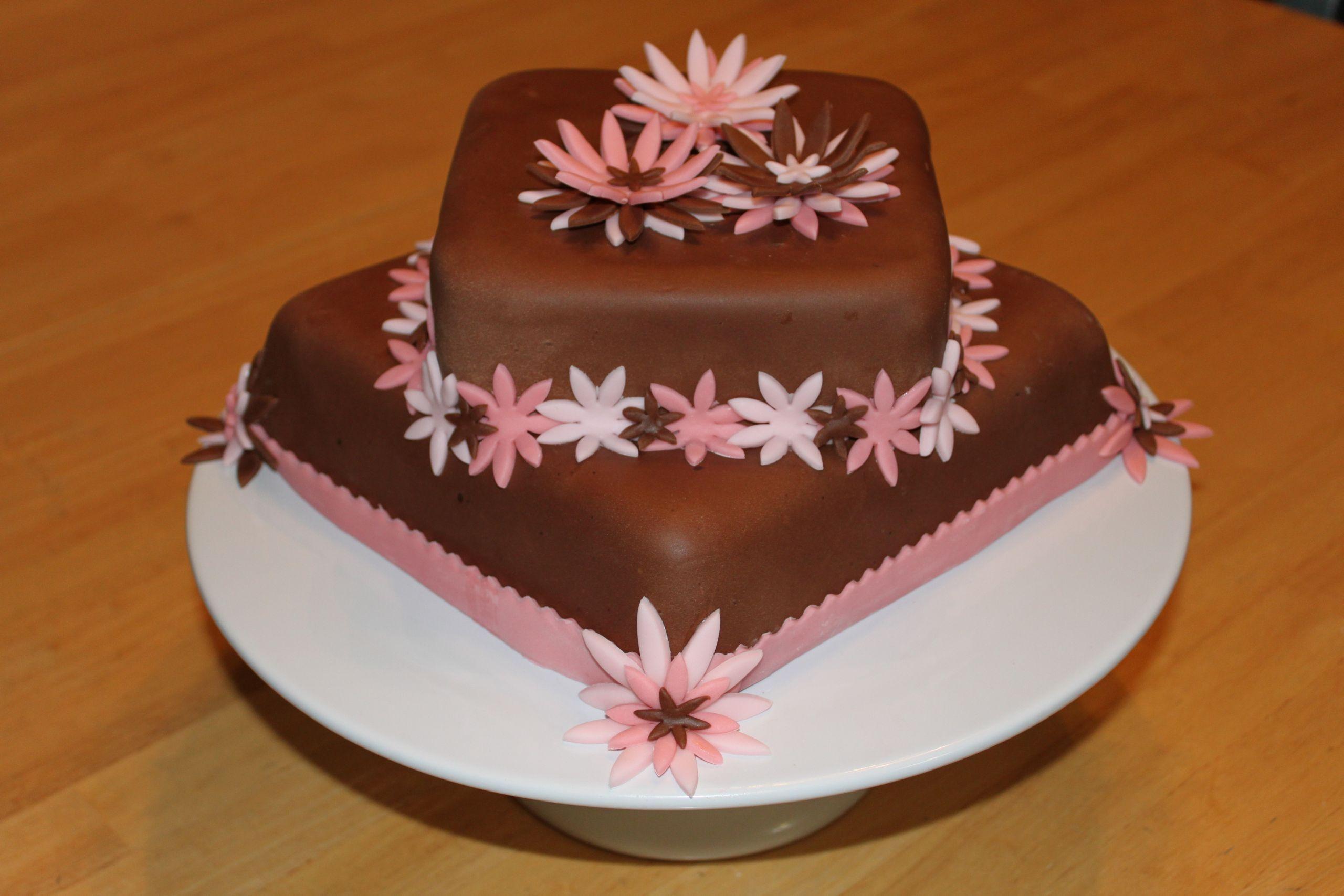Fondant Birthday Cakes  Chocolate Fondant Birthday Cake with Flowers The Original