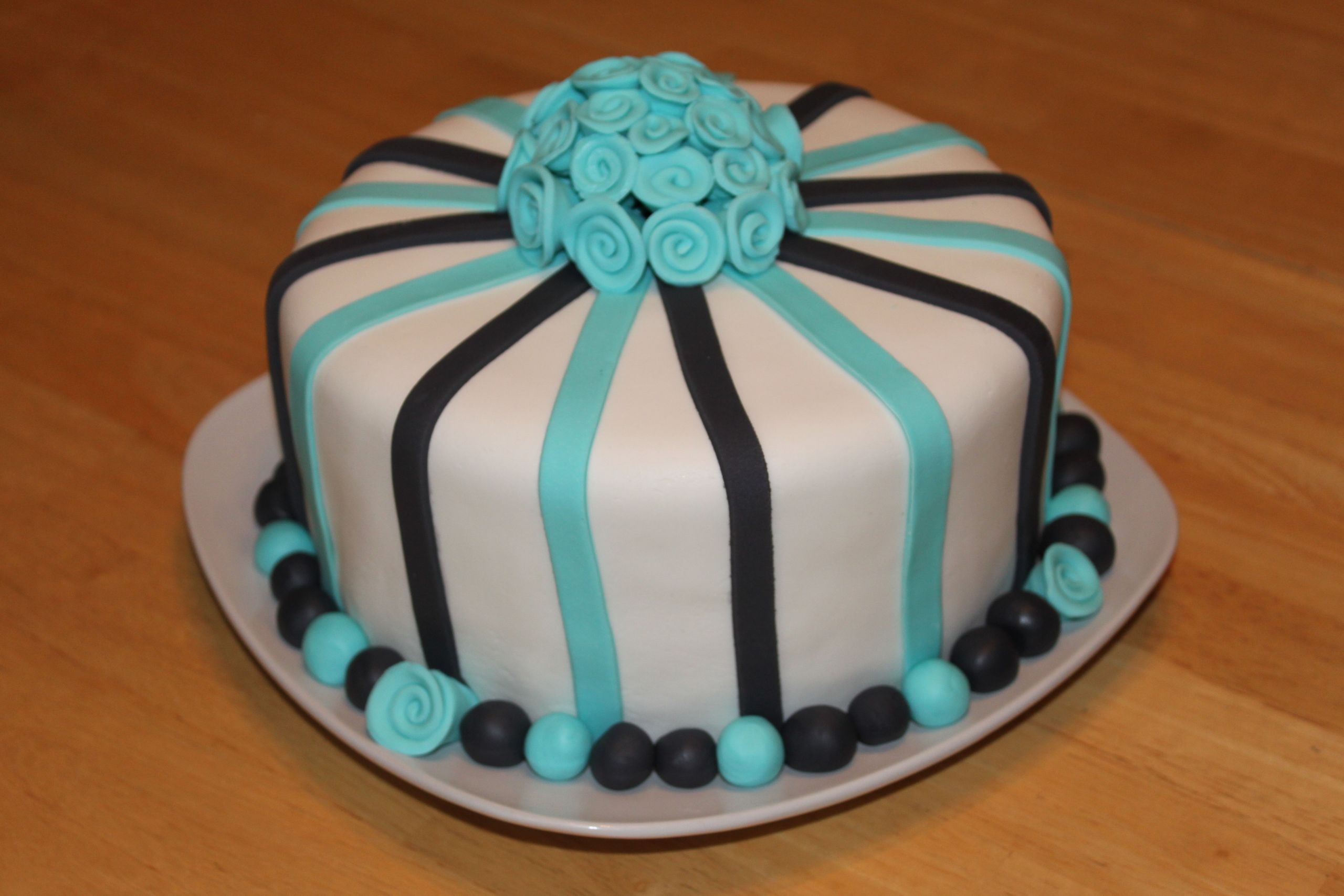 Fondant Birthday Cakes  Blue and Black Striped Birthday Fondant Cake