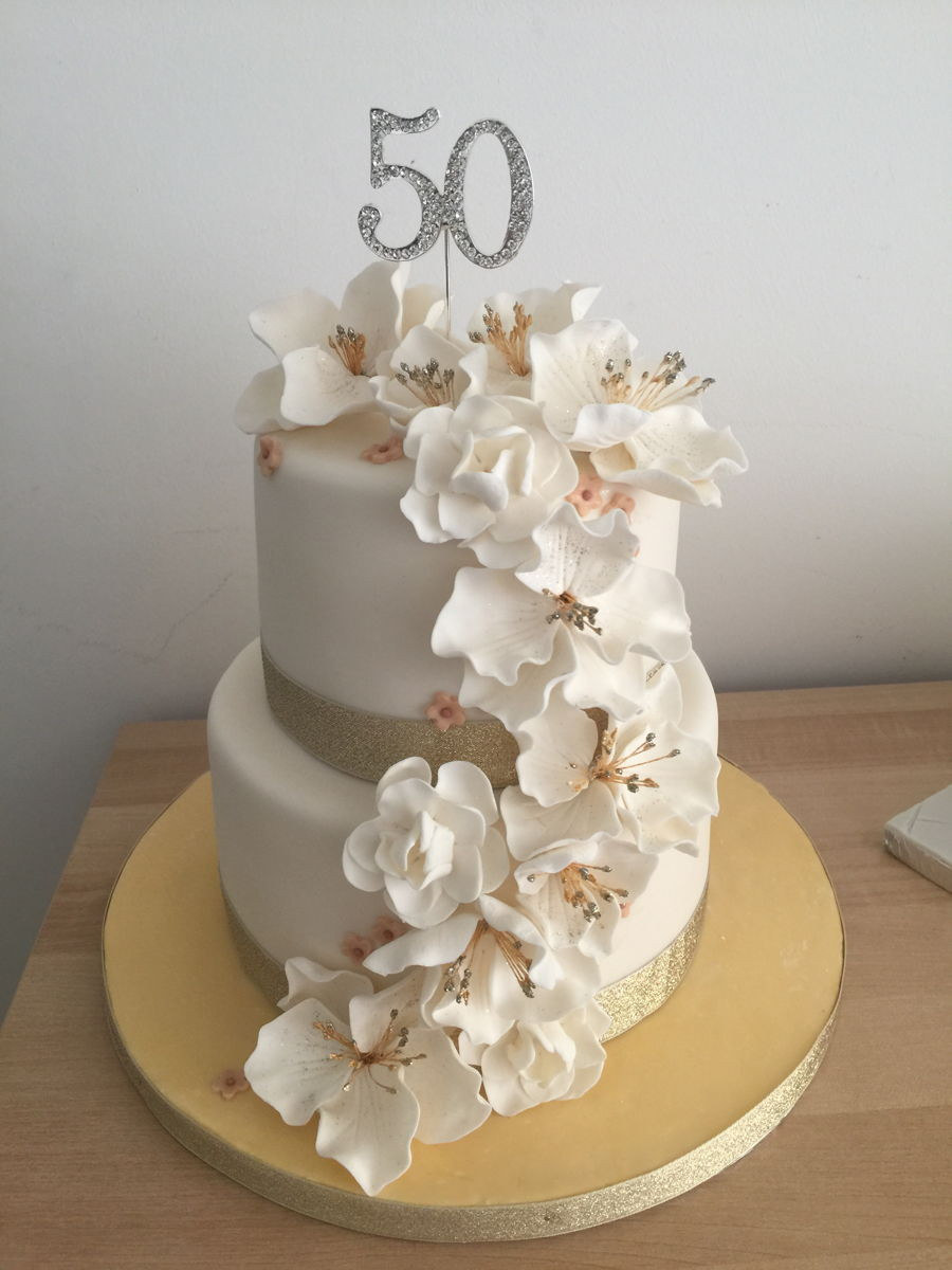 Fondant Birthday Cakes  50Th Birthday Cake With Fondant Flowers CakeCentral