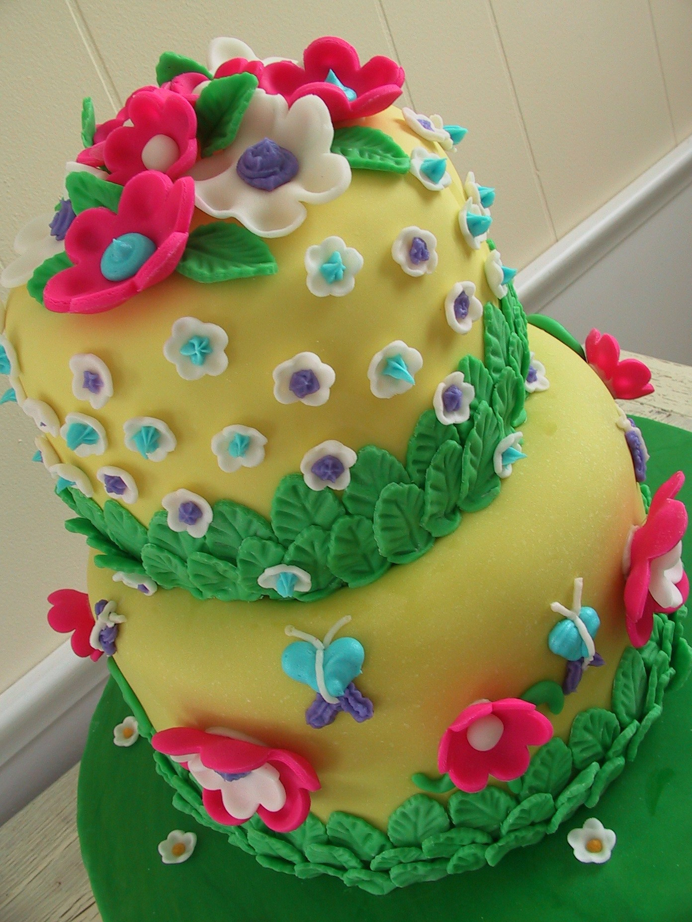 Fondant Birthday Cakes  Butterflies flowers and fondant Birthday Cake