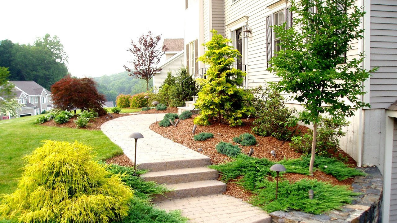 Front Yard Landscape Picture  Front Yard Landscaping Ideas by a Trumbull CT Landscaper