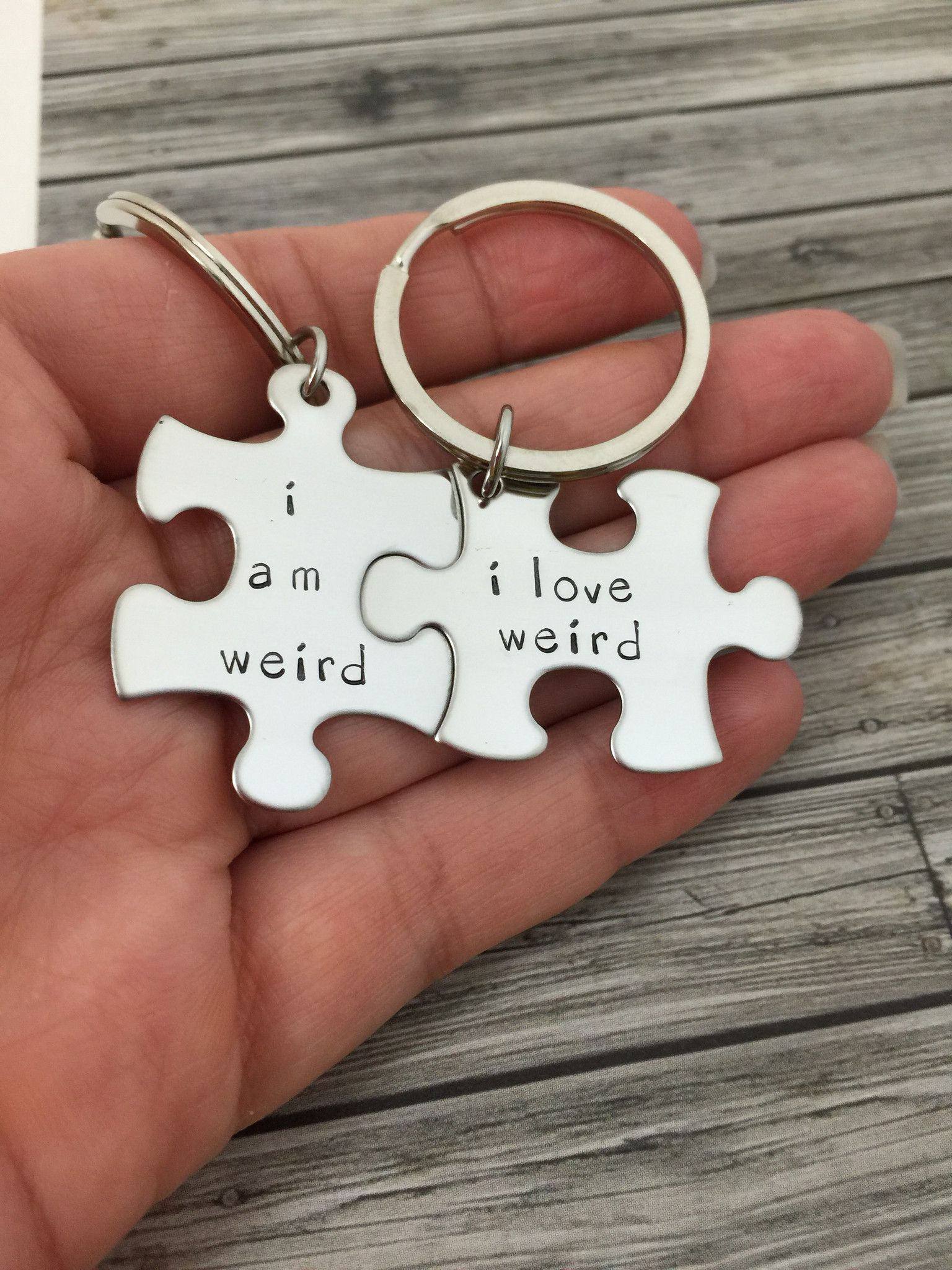 Fun Gift Ideas For Couples  I am weird I love weird Couples Keychains Couples Gift