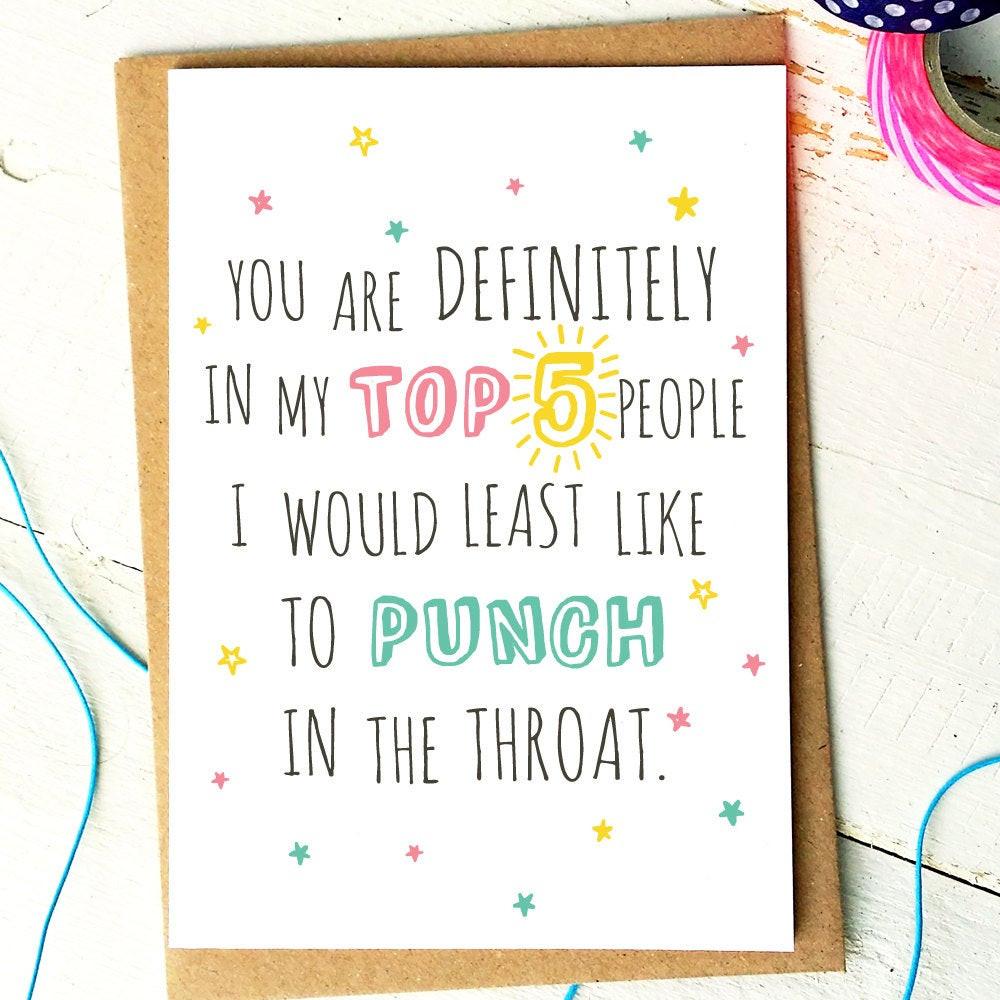 Funny Birthday Card For Friend  Funny Birthday Card Funny Friend Card Funny Love Cards