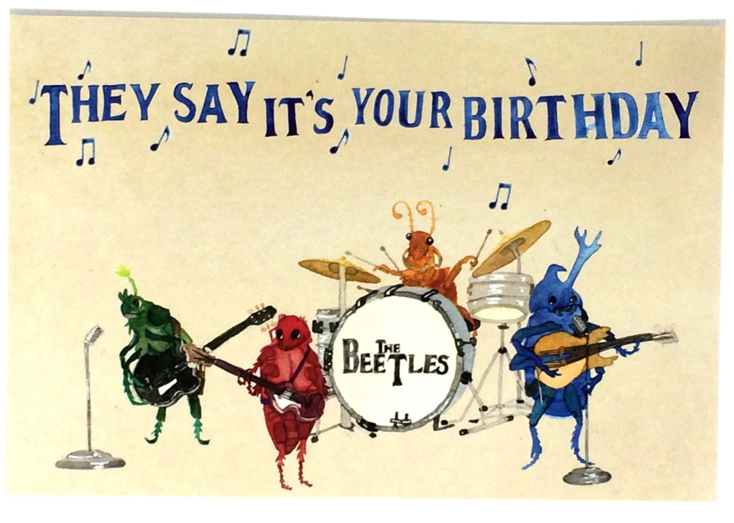 Funny Singing Birthday Cards  Pack of 10 Funny Beatles Happy Birthday Postcards Ten