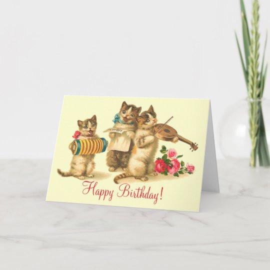 Funny Singing Birthday Cards  Vintage Funny Cats Singing Happy Birthday Card
