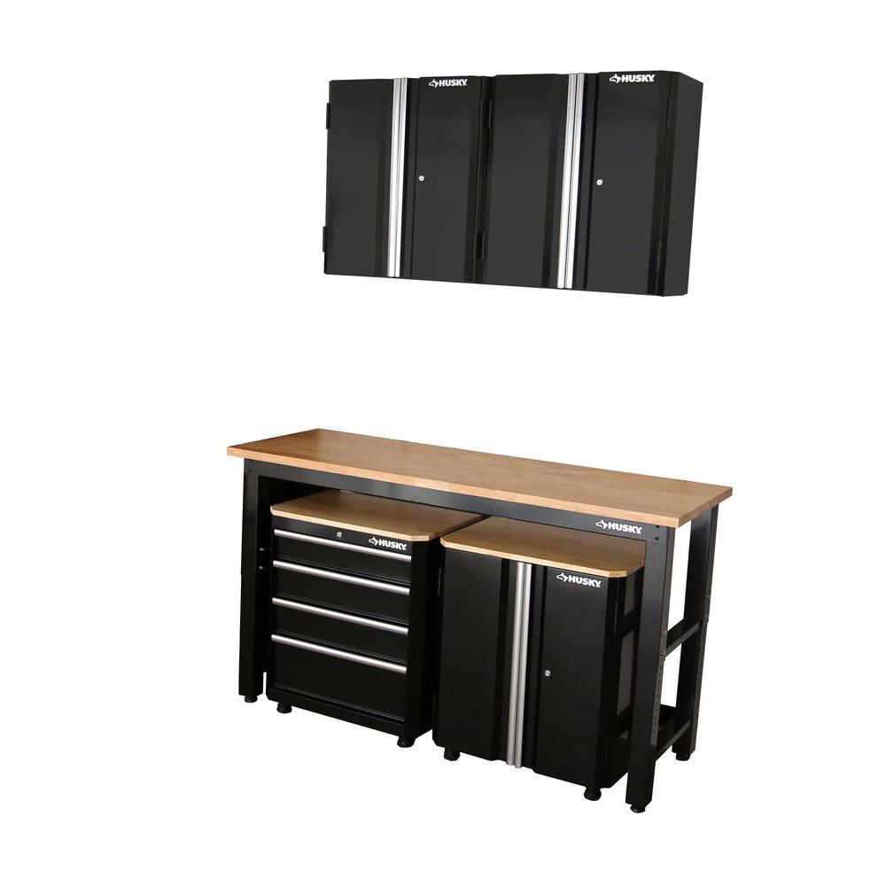 Garage Organization Home Depot  Husky 98 in H x 72 in W x 24 in D Steel Garage Cabinet