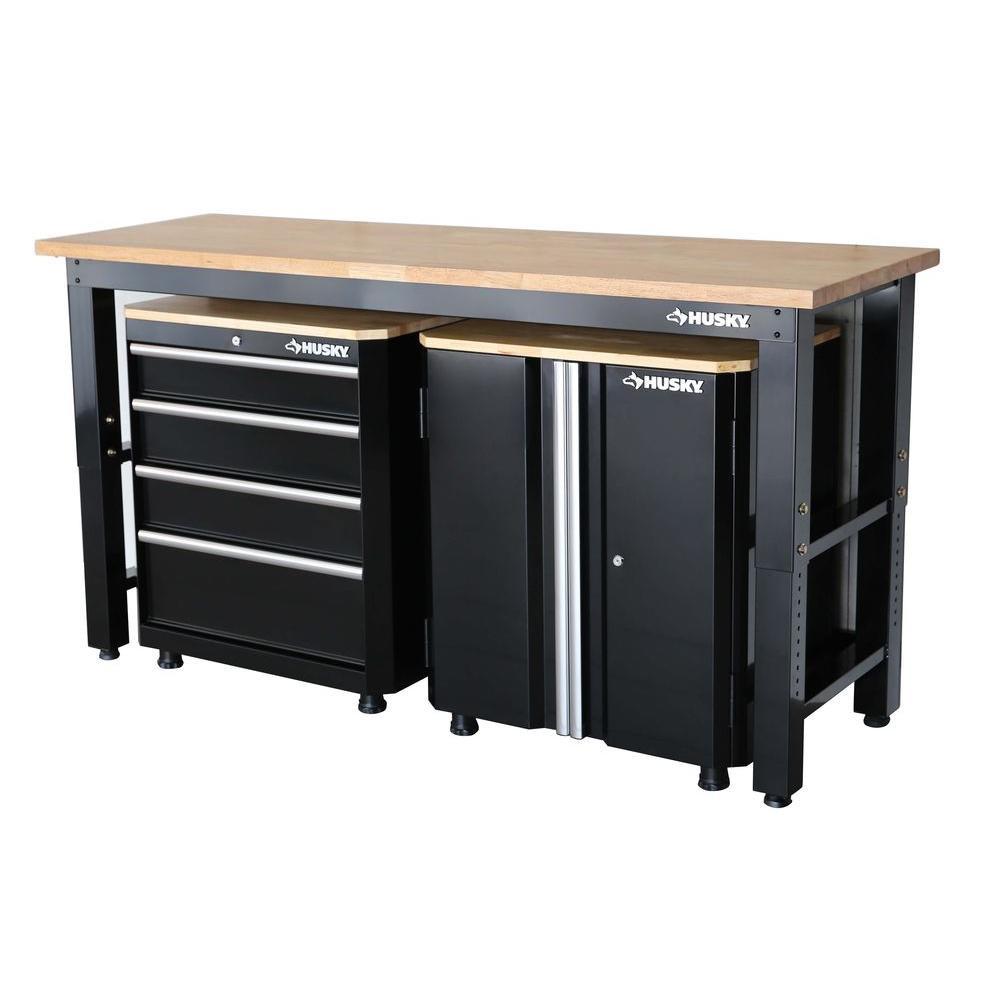 Garage Organization Home Depot  Husky 42 in H x 72 in W x 24 in D Steel Garage Cabinet
