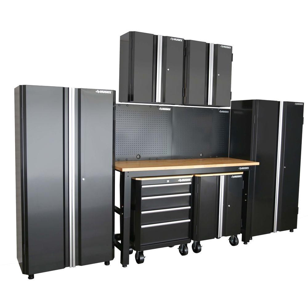 Garage Organization Home Depot  Husky 98 in H x 145 in W x 24 in D Steel Garage Cabinet
