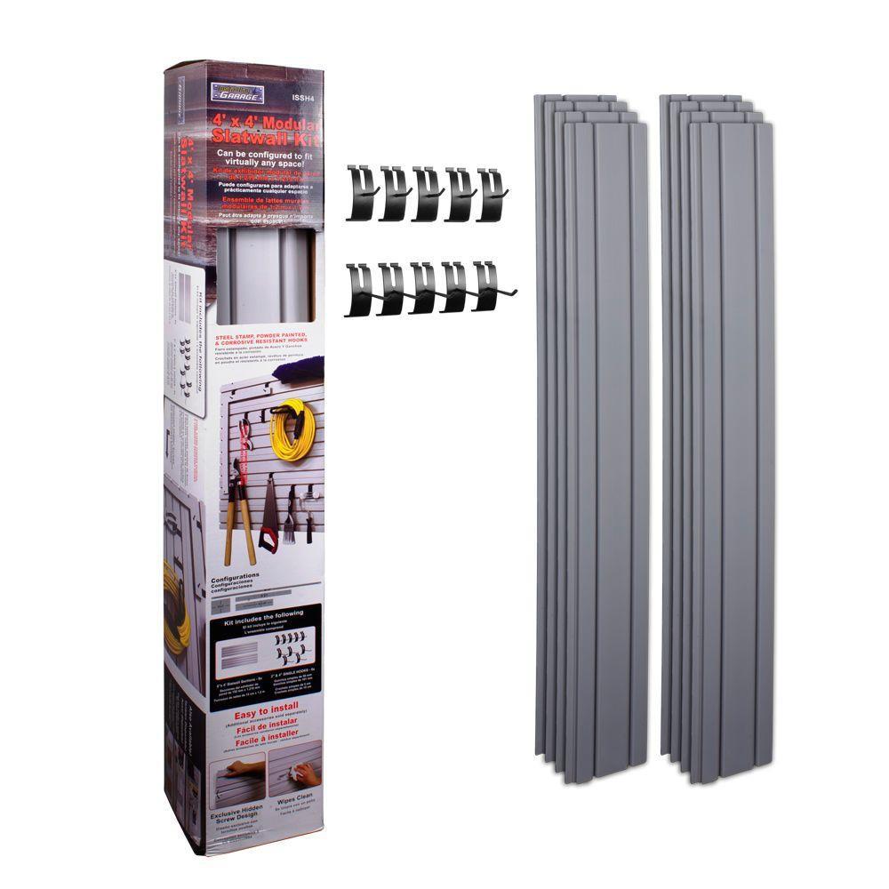 Garage Organization Home Depot  InstallBay Garage 4 ft x 4 ft Slatwall with 10 Single