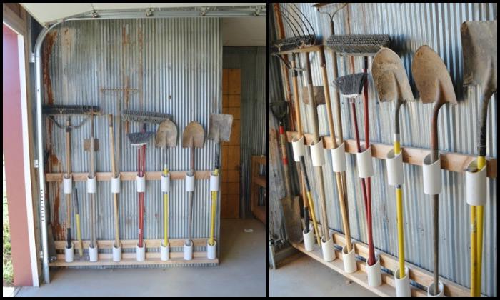 Garage Tool Organizer  Organize your garage by making a PVC yard tool storage